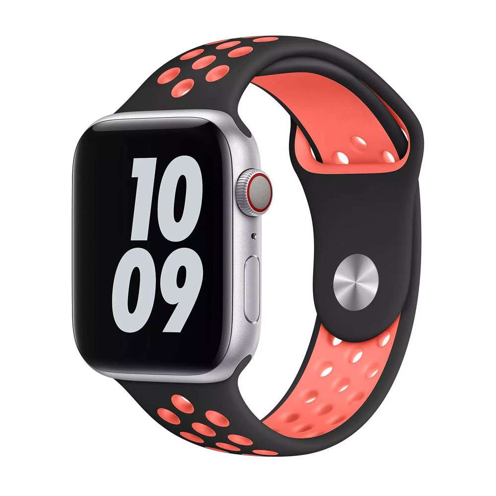 WIWU Unisex Dual Color Sport Band Watchband For iWatch, Black/Red