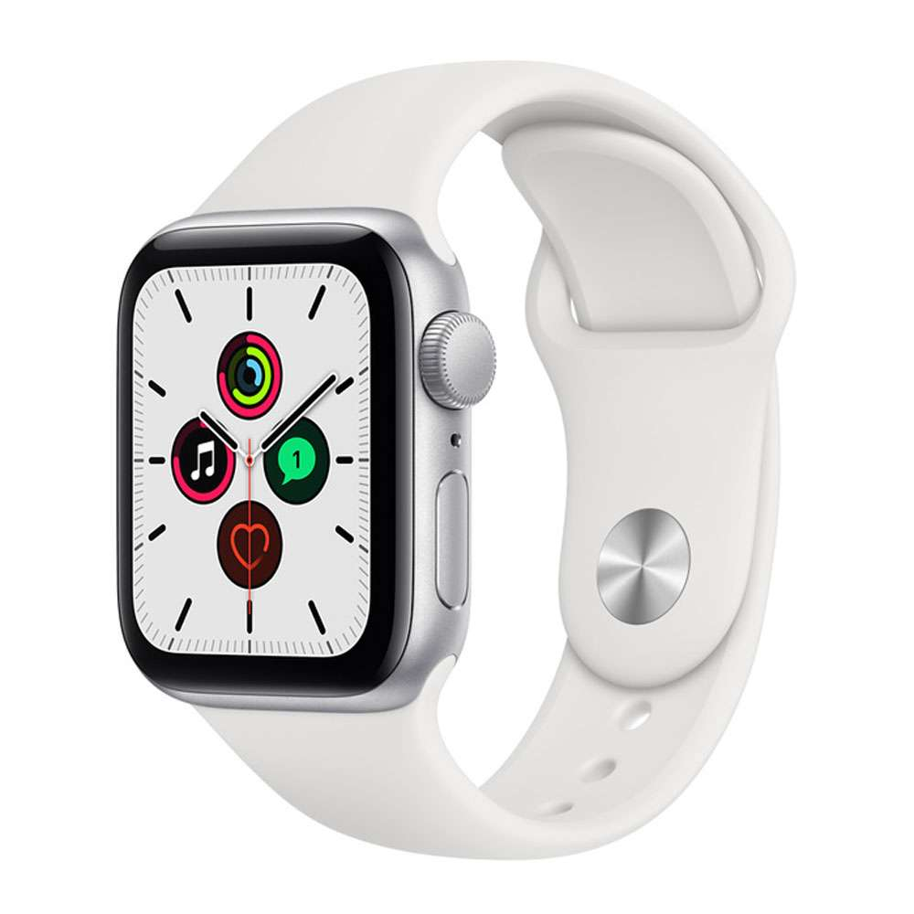 Apple Watch SE 40 mm GPS, Silver Aluminium Case with Sport Band White