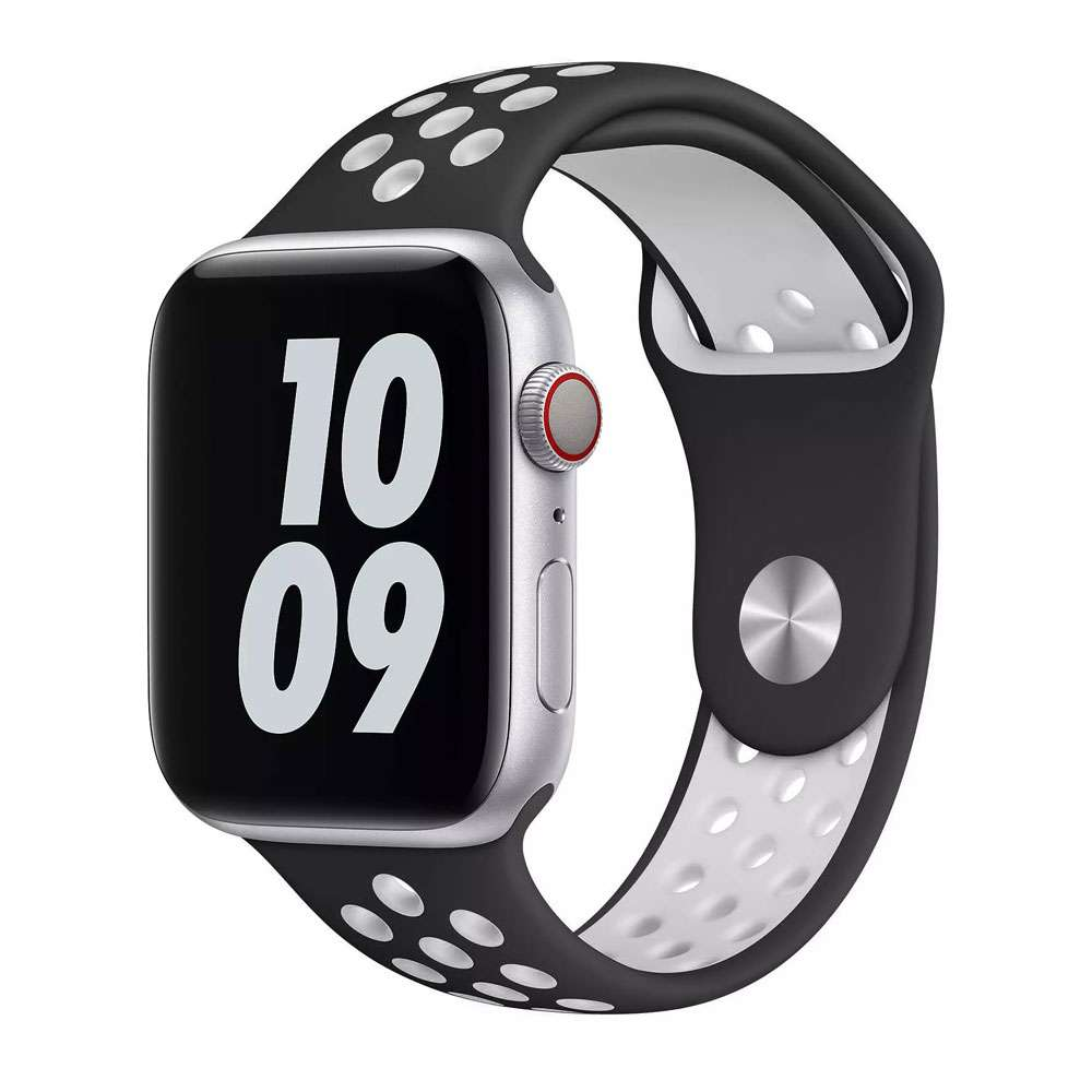 WIWU Unisex Dual Color Sport Band Watchband For iWatch, 42-44mm, Black/White