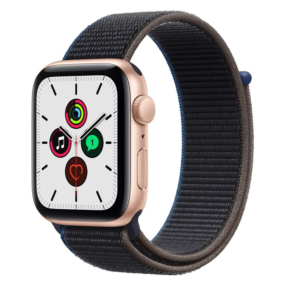 Apple Watch SE 44 mm GPS   Cellular, Gold Aluminum Case with Sport Loop Charcoal
