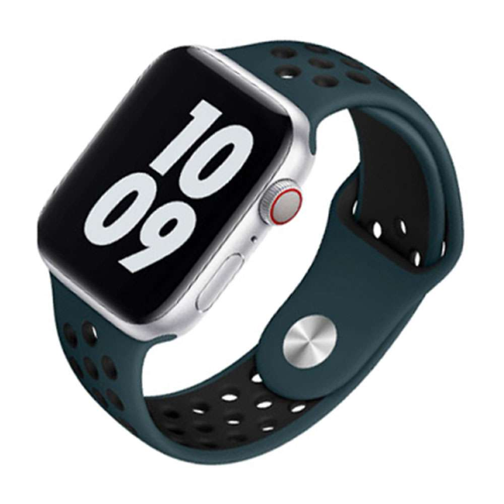 WIWU Unisex Dual Color Sport Band Watchband For iWatch, 42-44mm, Aoba/Black